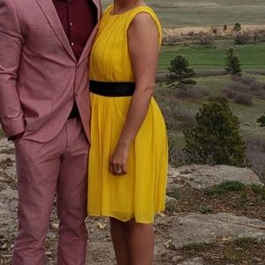 Yellow New Directions Dress with yellow sash belt